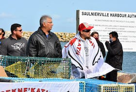 The Sipekne'katic First Nation held a ceremony at the Saulnierville wharf on Sept. 17 where seven moderate livelihood licences were distributed by the band. This took place on the 21st anniversary of the Supreme Court Marshall decision. TINA COMEAU PHOTO