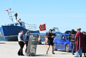 On Saturday, Sept. 19 access onto the Saulnierville wharf was limited to First Nation fishers and their supporters. TINA COMEAU PHOTO