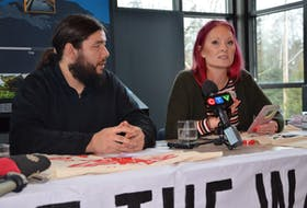 Rachael Greenland-Smith, accompanied by Dale Poulette, talks about documents obtained through freedom of information requests that she says shows the federal Environment Department had acknowledged that the Alton Gas project, as currently proposed, violates the federal Fisheries Act.