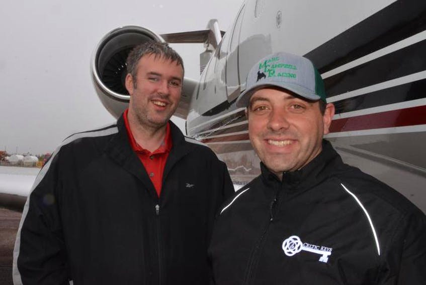 David Morgan, shown with business partner Damian Ramsay, owner of Celtic Air Services and operator of the Allan J. MacEachen Airport outside Port Hawkesbury, is concerned the federal government is going to help finance a competing airport in Inverness, which could drive Celtic Air out of business.