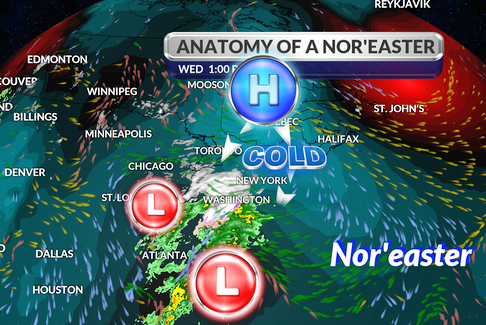 ANor'easteris a storm that intensifies off the East Coast of North America; it is so-called because the strong winds that develop ahead of the storm are from the northeast. - WSI