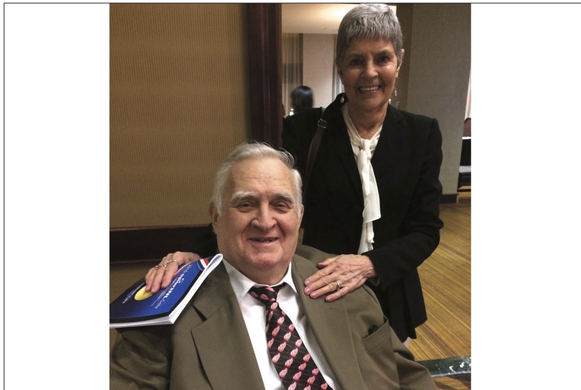 In this 2017 file photo, Dee Murphy and his wife Bette are shown at Sport Newfoundland and Labrador's 2016 awards ceremony and Hall of Fame inductions. Murphy, who was a member of the Sport NL Hall and many other sports-related Halls of Fame, died Thursday in St. John's. He was 82.