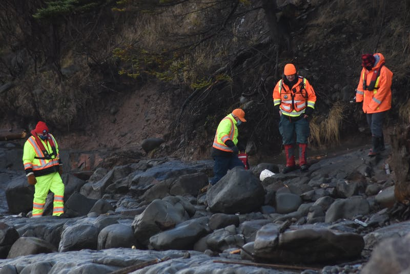 Searchers scoured the shore of Delaps Cove on Dec. 15, 2020. They were looking for clues in the search for the Chief William Saulis and her six crew members. Aaron Cogswell's body was never recovered. - Ashley Thompson