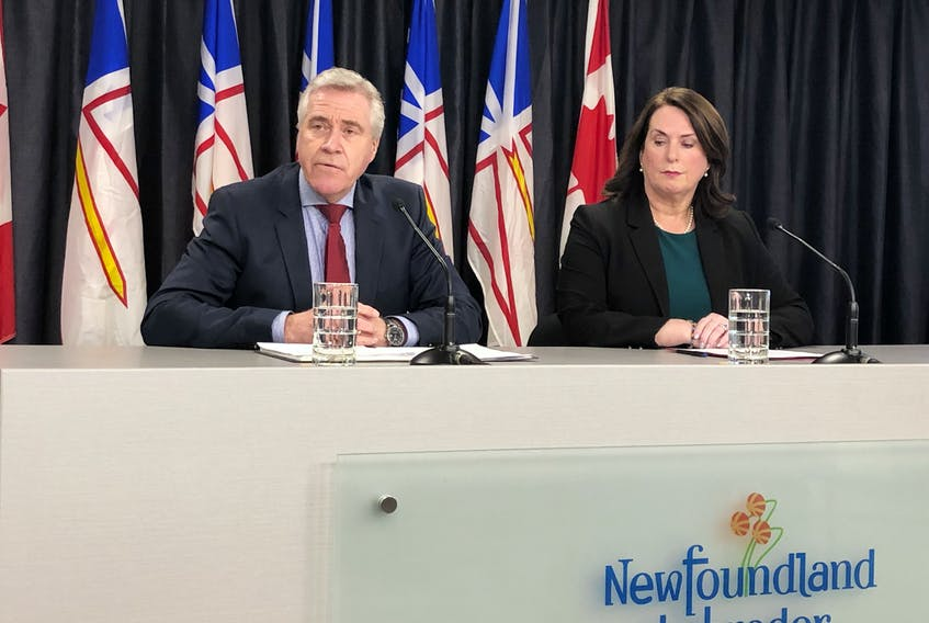 Premier Dwight Ball and Natural Resources Minister Siobhan Coady at the release of the Commission of Inquiry Respecting the Muskrat Falls Project  report.