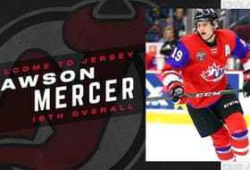 Dawson Mercer of Bay Roberts went 18th overall to the New Jersey Devils in Tuesday's first round of the NHL Draft. - New Jersey Devils/Twitter