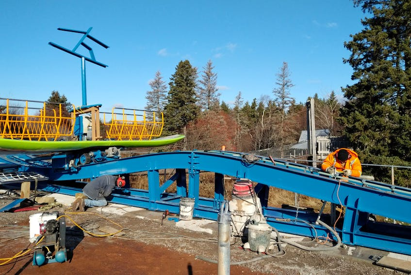 Construction is underway on a new ride in Cavendish at Shining Waters Family Fun Park. The ride is called Surf's Up and will involve a giant surfboard and lots of spinning on a wave-like track. The ride will be ready for the 2018 season. SUBMITTED PHOTO
