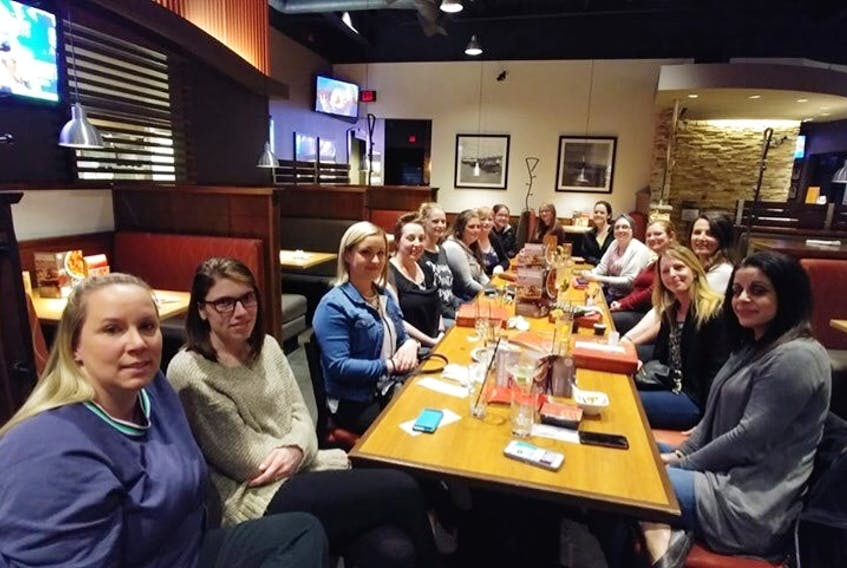 Antigonish/Guysborough County Mamas Facebook group do get together face-to-face on occasions, such as this recent outing for dinner at Boston Pizza in Antigonish.