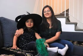 Nishreen Murtaza will be taking her four-year-old daughter Zahra Murtaza Sourti, left, trick-or-treating for the first time this Halloween. The mother and daughter are pictured in their Halifax home on Oct. 28, 2020.