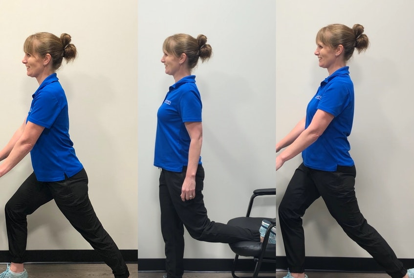 Physiotherapist Laura Lundquist demonstrates (from left to right) calf, quad and hip flexor stretches. - Photo Contributed.