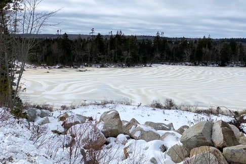 Carol Hansen spotted these mysterious stripes on Puddle Lake off Highway 103, not far from Ingramport, N.S.