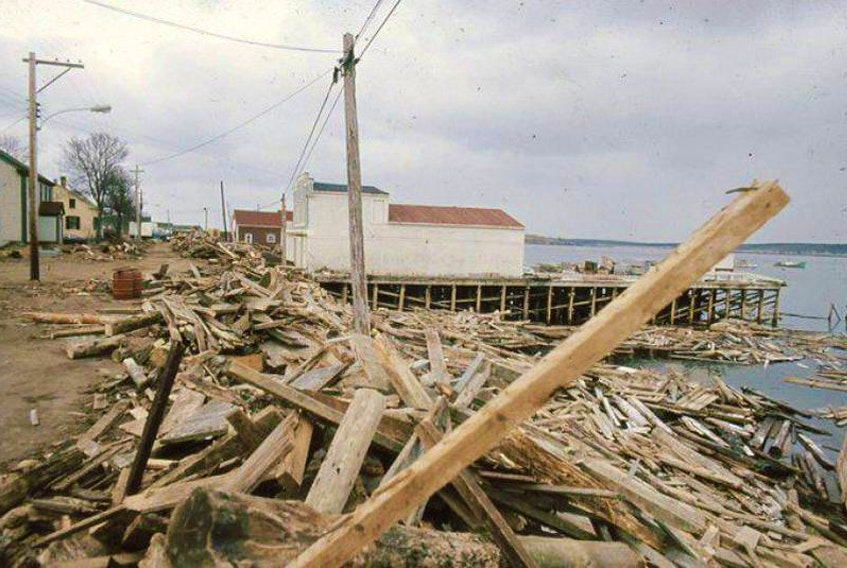 Damage left behind by the Groundhog Day Gale in Digby County, N.S.   Courtesy – Islands Historical Society.