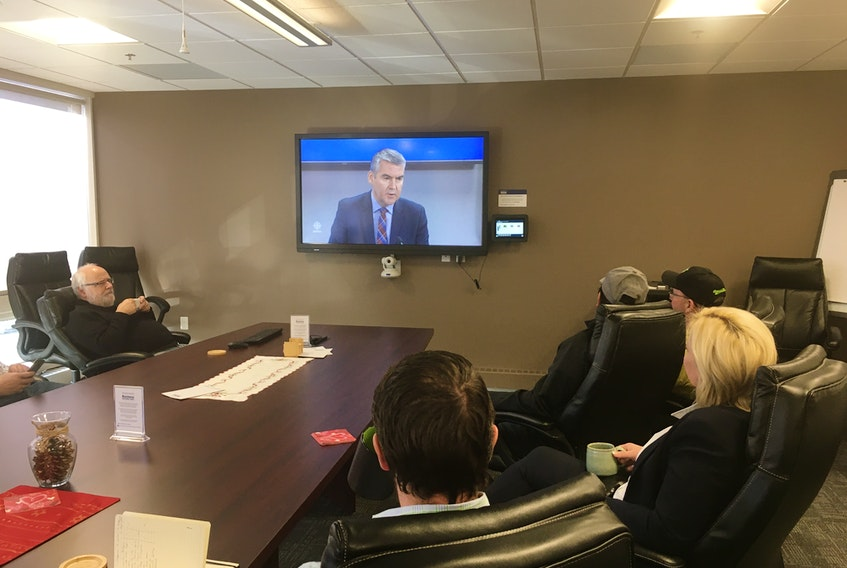 Forestry producers and business officials from Cumberland County joined Cumberland North MLA Elizabeth Smith-McCrossin in watching Premier Stephen McNeil's forestry announcement on Dec. 20 at the Community Credit Union Business Innovation Centre in Amherst.