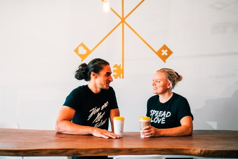 Alex Stephen (left) and Heather Stephen are the husband and wife team that co-own Apartment 3 Espresso Bar in Lower Sackville, which started through help provided by Futurpreneur. - Photo Courtesy Jessica Grace.