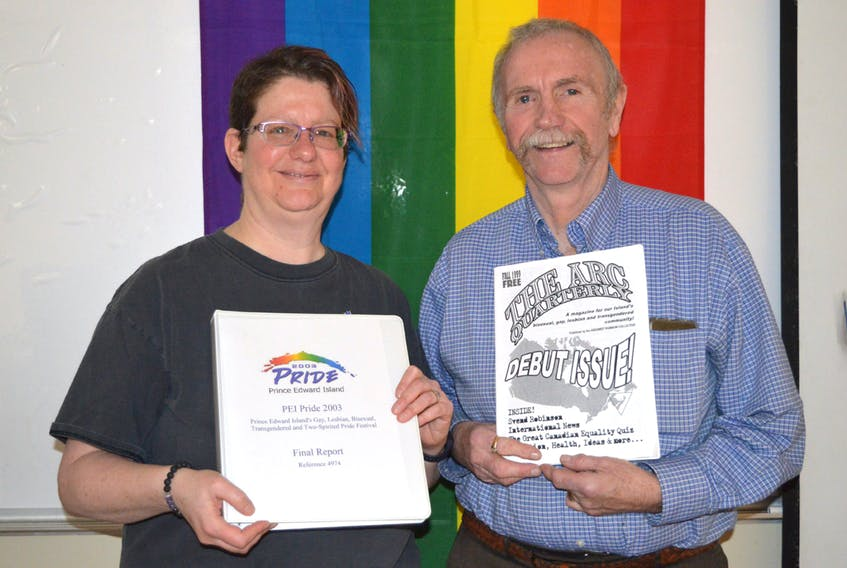Nola Etkin, left, and Jim Culbert held a presentation at UPEI Saturday about queer history on P.E.I. Etkin and Culbert shared some of the challenges and successes in helping pave a path for gays and lesbians on P.E.I. MAUREEN COULTER/THE GUARDIAN