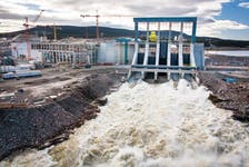 The Muskrat Falls generation dam's spillway and powerhouse are shown in this in this October 2017 photo supplied by Nalcor Energy. Auditors testified Friday that Nalcor Energy didn't adequately investigate energy alternatives before going ahead with the Muskrat Falls option.