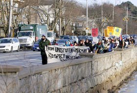 About 75 people participated in a protest as they marched to the Armdale Roundabout on Monday afternoon, Jan. 15, 2019. The protest was in support the Wet'suwet'en First Nation battle against a pipeline in British Columbia. During the protest all five crosswalks were blocked for a short period of time. The protest then moved back to Horseshoe Island Park for speeches and prayer.