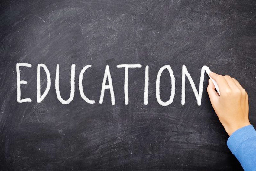 Stock image of education written on a blackboard.