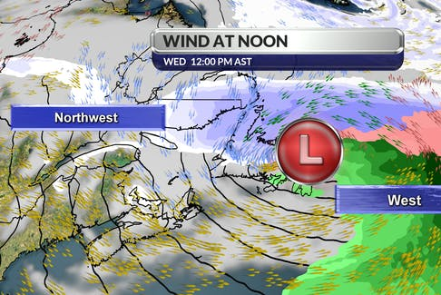 The counter-clockwise circulation around the outgoing winter storm will serve up west to northwest winds across the region on Ash Wednesday, Feb. 17, 2021.