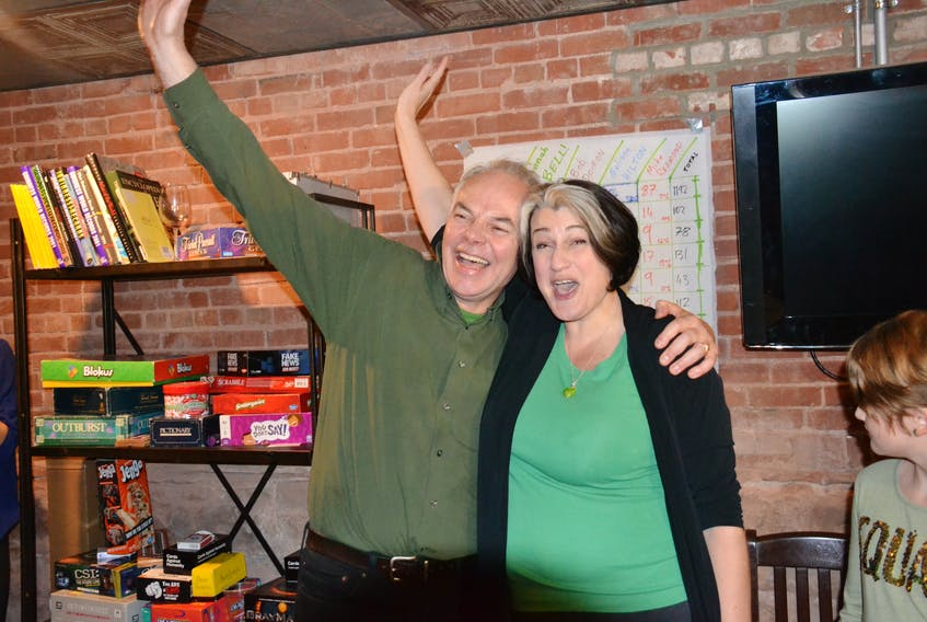 Green Party Leader Peter Bevan-Baker celebrates with Hannah Bell after she won the District 11 byelection in Charlottetown-Parkdale. (Guardian Photo)