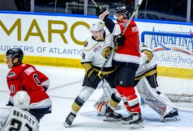 Defenceman Miles Gendron, shown jousting with Adirondack Thunder forward  Casey Pierro-Zabotel in front of Growlers goaltender Angus Redmond, made his home-ice debut with the Newfoundland Growlers Wednesday night at Mile One centre, where the Growlers edged the Thunder 4-3. — Newfoundland Growlers photo/Jeff Parsons
