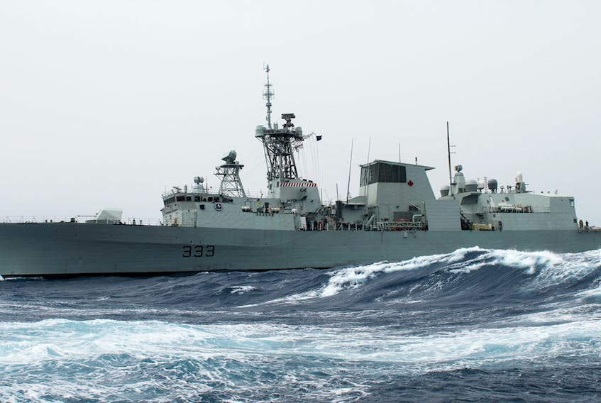 Her Majesty's Canadian Ship (HMCS) TORONTO sails the Mediterranean Sea during Operation REASSURANCE, April 21, 2019.  Photo:  MCpl Manuela Berger, Formation Imaging Services Halifax RP23-2019-0166-010