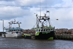 A helicopter searches the Bay of Fundy Dec. 15 for signs of missing scallop boat Chief William Saulis and her 6 crew near the fishermen's wharf in Parkers Cove, N.S.