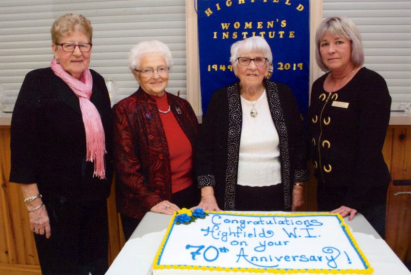 Highfield WI committee chairwoman Annita Smith, left, joins Vivian Frizzell, longest-serving Highfield WI member (at 64 years), Dorothy Taylor, founding member, and Anna Cooper, HighfielI president, at the club's 70th anniversary celebration.