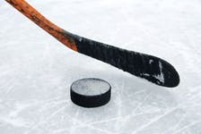 Hockey stick and puck.