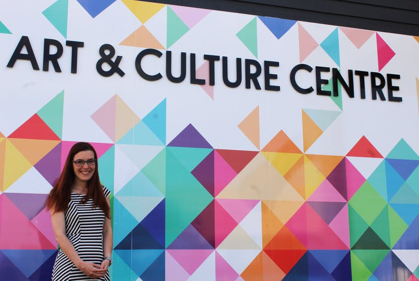 Site director Nikki Gallant in front of the newly renovated Eptek Arts and Culture Centre in Summerside.