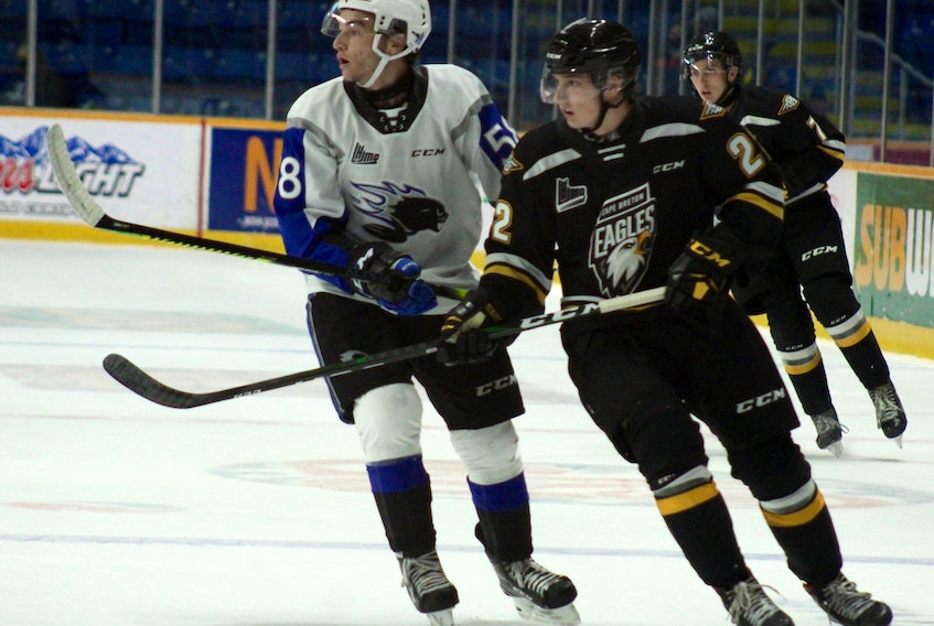 Jacob Santerre of the Cape Breton Eagles, right, and Charlie DesRoches of the Saint John Sea Dogs watch the play during Quebec Major Junior Hockey League preseason action at Centre 200 in Sydney on Friday. Cape Breton won the game 3-2 in a shootout. PHOTO/CAPE BRETON POST STAFF