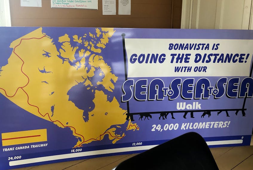 The sign for the upcoming walking initiative in Bonavista.