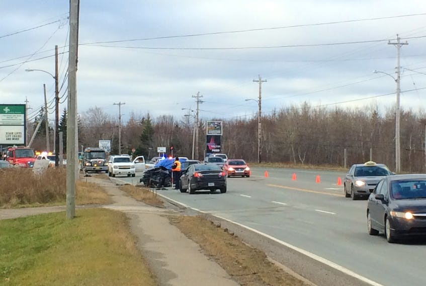 Two sport utility vehicles appear to have suffered front end damage in a crash on the Sydney-Glace Bay highway this morning. Traffic has been reduced to one-lane as the Cape Breton Regional Police investigate.