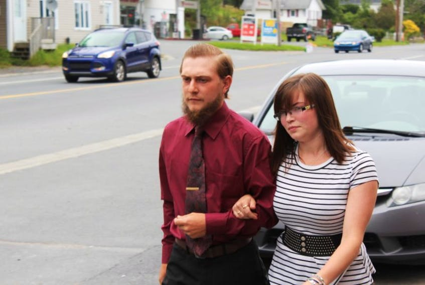 Joshua Chubbs, left, appeared in the Harbour Grace provincial courthouse twice throughout the matter, both times accompanied by friends and family.