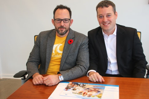Brennan Gillis, left, CEO of the Truro and Colchester Partnership for Economic Prosperity, and Nova Scotia Health and Wellness Minister Randy Delorey got together in Truro for an announcement on funding for community-led initiatives around doctor recruitment.