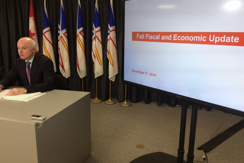 Finance minister Tom Osborne speaks to the media at the Confederation Building where he presented the 2019 Fall Fiscal Update. - Joe Gibbons/The Telegram