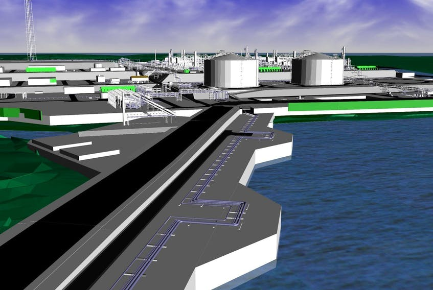 Pieridae Energy's rendering of a planned LNG plant to be built in Goldboro, Guysborough County. -  Pieridae Energy