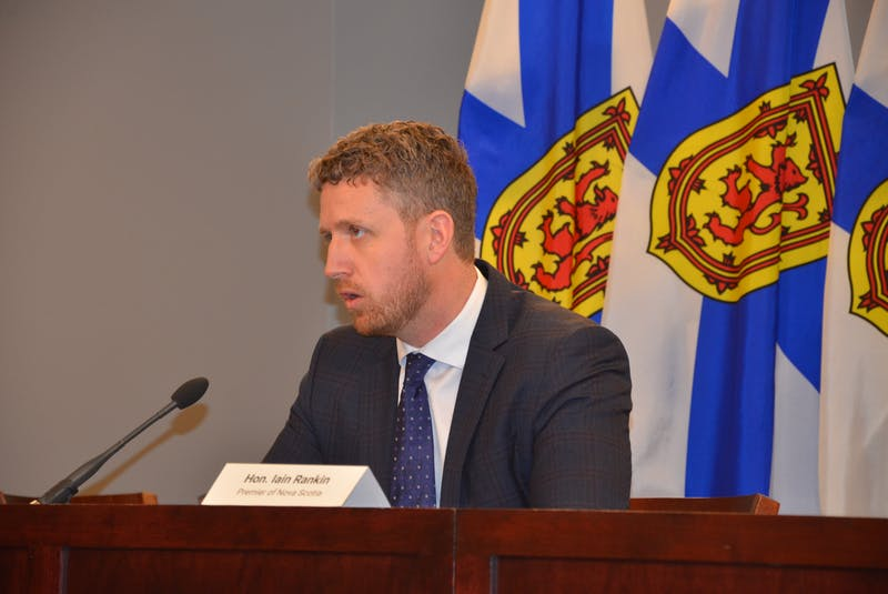 Premier Iain Rankin responds to a reporter's question at a media briefing at One Government Place in downtown Halifax on Thursday, March 18. - Francis Campbell