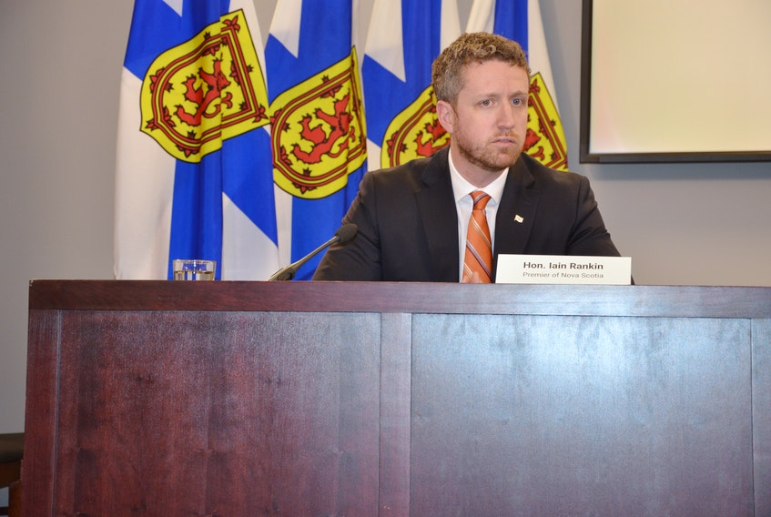 Premier Iain Rankin speaks to media at One Government Place in downtown Halifax after a cabinet meeting on Thursday, March 4, 2021.