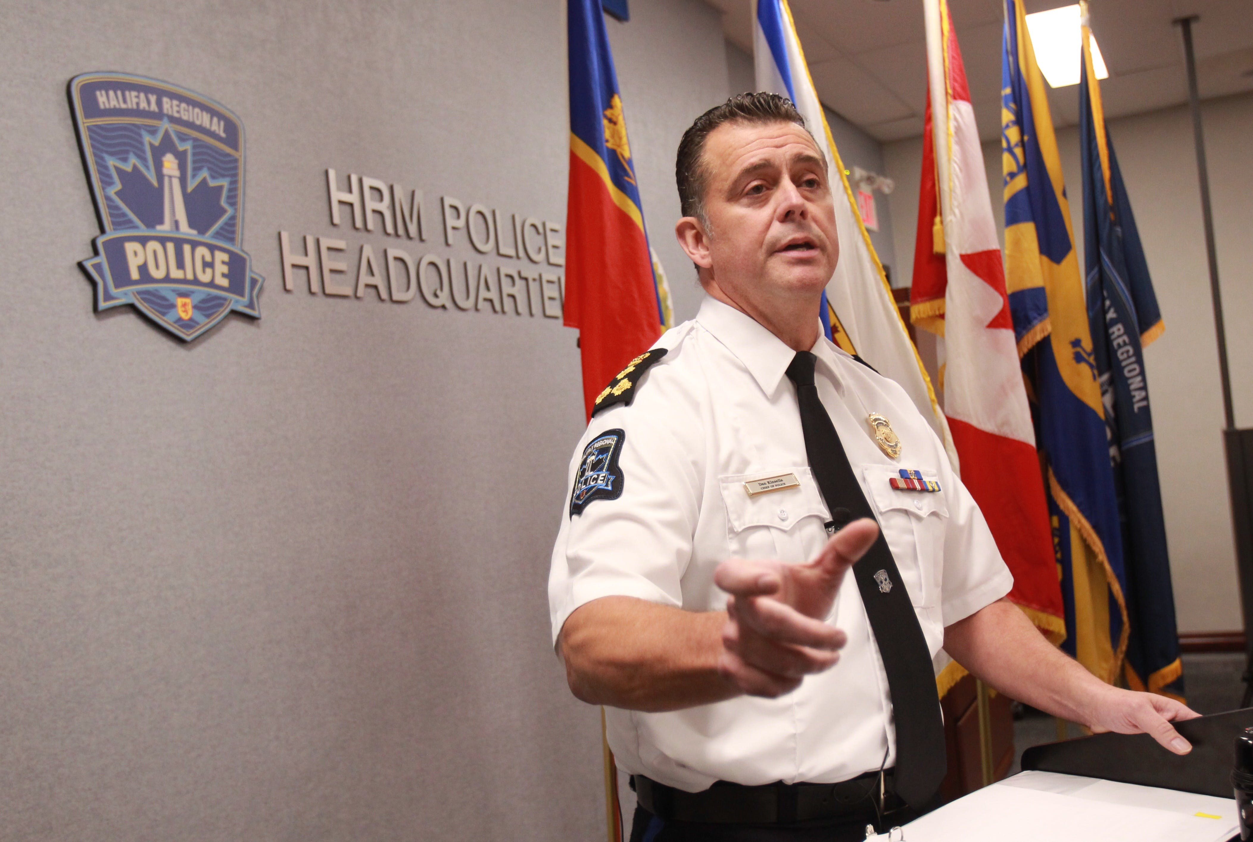 Halifax Regional Police Chief Dan Kinsella speaks to the media Thursday, Oct. 17, 2019, about charges laid against Const. Jennifer McPhee.