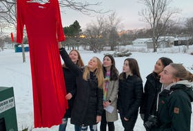 Students Moira Embree and Abbie Byrnes raise a red dress into a tree in the Beacon Street Park in Amherst. Members of the Grade 9 citizenship class at Amherst Regional High School are placing 16 red dresses around town in honour of hundreds of missing and murdered Indigenous women. Darrell Cole - SaltWire Network