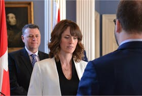 Charlottetown-Hillsborough Park MLA Natalie Jameson was appointed as minister of environment, water and climate change during a ceremony at Government House on Feb. 21. Looking on is Premier Dennis King.
