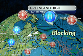A blocking Greenland high created an unusual retrograde across Atlantic Canada this week. - WSI