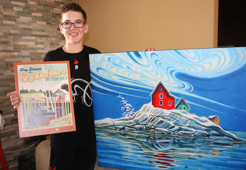 Jax Gaudet has previously raised money selling tickets on artwork. The piece on the left was created by New Brunswick artist Eric Goggin, while the painting on the right was done by Adam Young, of Newfoundland. - Lynn Curwin