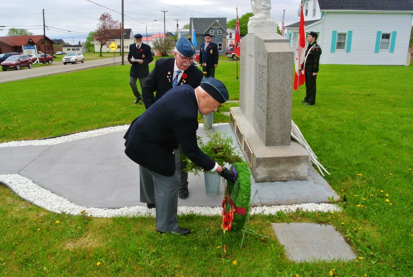 Second World War veteran David Coleman lays a wreath next to the cenotaph in Joggins in recognition of the 75th anniversary of D-Day on June 6. The community's cenotaph was also rededicated with the addition of 10 names of veterans from the area who died during the First World War.