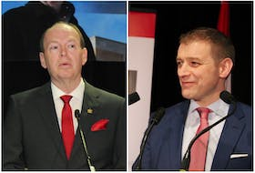 Liberal Party of N.L. candidates John Abbott (left) and Andrew Furey.