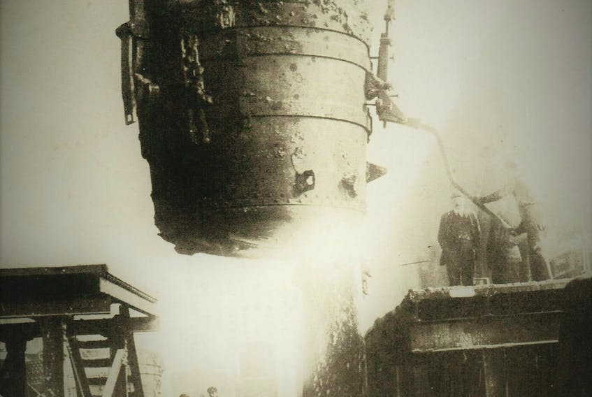 Pouring of steel at the Nova Scotia Steel & Coal Company, Trenton, Nova Scotia, where the first ingot was poured in Canada in July, 1883.