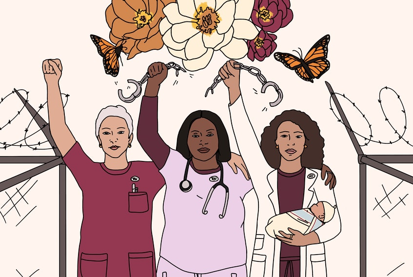 Keisha Jefferies, Leah Carrier, and Martha Paynter's letter which urge nurses in North America to support the abolition of policing and prisons was published in the Nurses for Public Health journal. This illustration, created by Halifax-based artist Julie Hutt, represents nurses breaking apart chains while standing between broken prison fences.