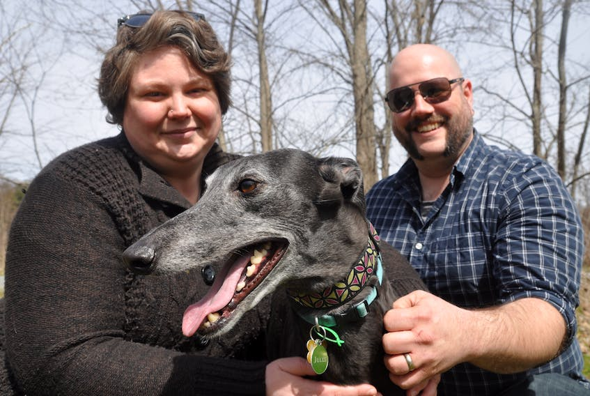 Nicole and Frank Bezanson-Harris and their Greyhound dog, Jules, are spearheading the Kentville Off Leash Dog Park Association's goal to establish a secure, off-leash park in the Kentville area. The couple took the reins from group founder, Mike Schroeder, who started talks with the town on the park several years ago.