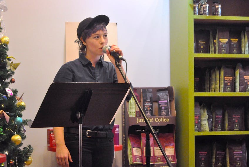 Layla Kelly speaks at the SOS NS mental health open mic event last week at the Just Us cafe in Wolfville.