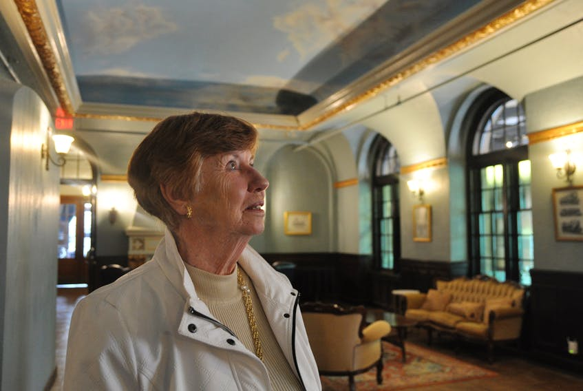 Joan Kennedy stares transfixed at the new ceiling inside the mezzanine and former lobby at the Cornwallis Inn in Kentville, where she worked as a switchboard operator. The building is now called Main Street Station.